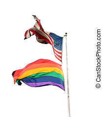 Two flags 3 - Isolated american and rainbow flags.