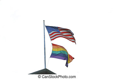 Two flags 1 - American and rainbow flags