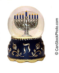 Menorah in snowglobe - ,a menorah on a snow globe,over...