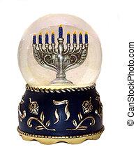 Menorah in snowglobe - ,a menorah on a snow globe,over...