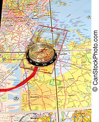 Map and Compass - , a compass on a map,good for travel