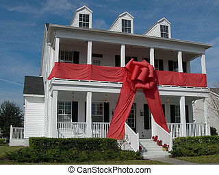 Gift-Wrapped - house gift-wrapped with giant red bow