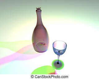 Bottle and glas - Strange colored still life. 3D rendered.