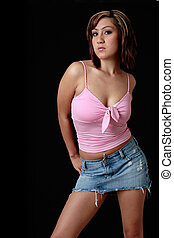 cute girl in modern sexy cutoff jean skirt - cute girl in...