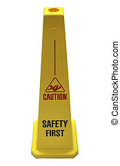 Safety Sign. -  Isolated yellow self-standing safety sign.