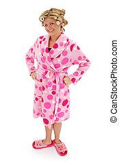 Teen Woman Robe - Beautiful blonde woman in pink polka dot...