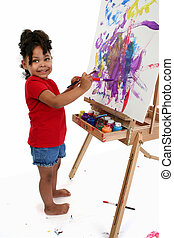 Girl Child Painting - Full body shot of three-year-old girl...