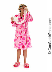 Cold and Flu Season - Blonde woman in pink polka dot...