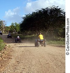 All Terrain Vehicle - A terrain vehicles on a dusty road
