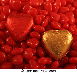 Foil Hearts - Red and Gold Foil wrapped chocolate hearts set...