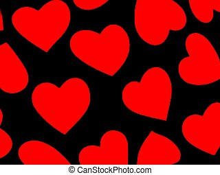 Heart Background Red - Black with red hearts. Fabric...
