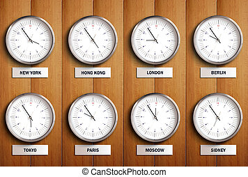 Time Zone 2 - Clocks in wood wall
