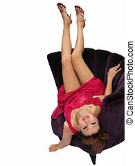 Woman in a chair upside down