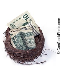 Nest Egg - Nest with currency in it,conceptual for nest egg.
