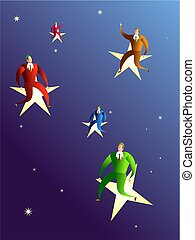 reaching the stars - businessmen achieving their goals and...