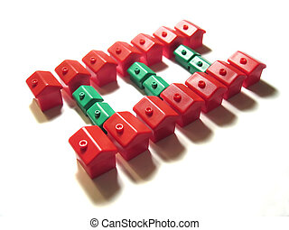 Property Ladder 2 - Miniature red and green houses in the...