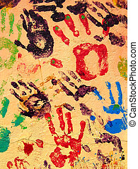 Hand Paint - Hand prints painted on a wall