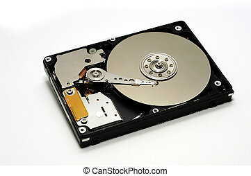 Inside a hard disk drive - Hard Disk drive isolated against...