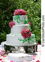 wedding cake - a three tiered wedding cake