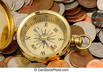 Financial Advisor - Compass and Money - Money Concept