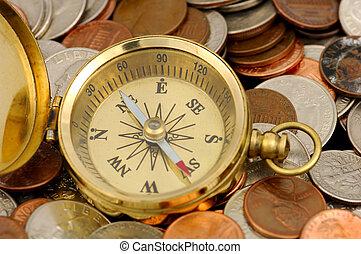 Financial Advisor - Compass and Money -  Money Concept