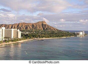 Hawaiian coastline - A view of Diamond Head and Waikiki