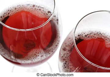 Red Wine - Two red wine glasses over wite