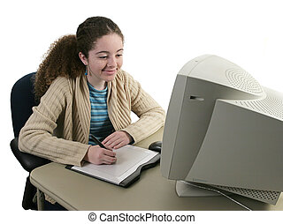Girl and Graphics Tablet - A girl smiling as she draws with...