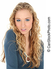 Woman Blonde Pretty - Pretty blonde young woman in long...
