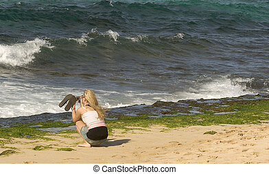 Woman Photographing Sea Turtles - Photo of a woman...