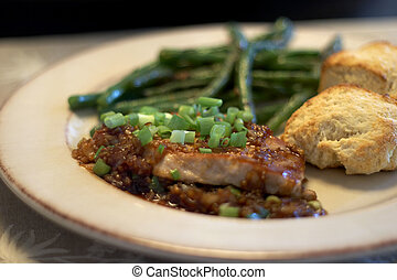 Dinner - Pork chops, buttermilk biscuits, and green beans