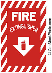 Fire Extinguisher Sign - Sign indicating a fire extinguisher...