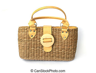 Straw Bag - Isolated fashion straw bag