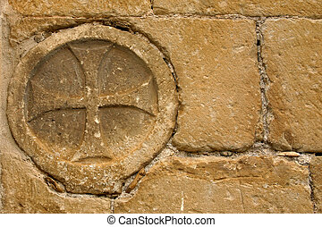 cross in the wall - templar cross in Uncastillo,Spain
