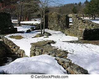 Old mill site - Old gristmill site in winter