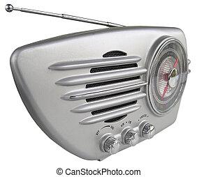 Silver retro radio - Groovy steamlined set