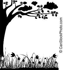 開くこと, 木, チューリップ, 春, フレーム