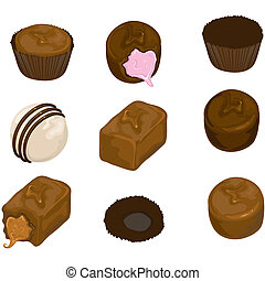 Assorted chocolate candy - Illustration of assorted...