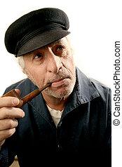 Fisherman Smoking Pi - man smoking pipe