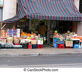 Fruit market - Fruit abd vegetable market on city street