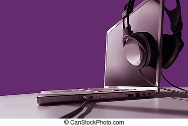 Laptop Listening - Headphones on Laptop