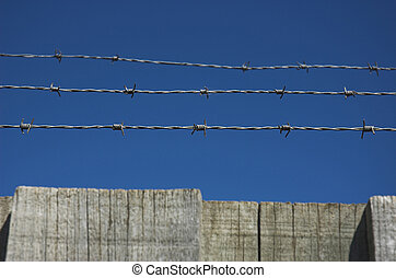 Barbed wire fence - Razor wire on top of fence