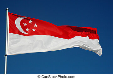 Singapore Flag with Blue Sky