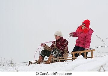 Winter fun - Two girls racing