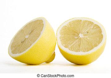 Sliced lemon - A lemon sliced in half