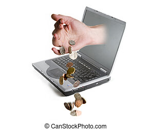 Online Money - A hand coming out of a computer screen...