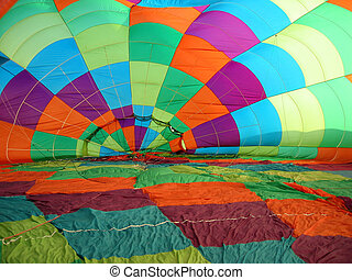 Hot air balloon canopy - Inside the canopy of an inflating...