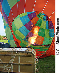 Inflating the canopy - Inflating a hot air balloon canopy