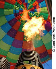 Hot air balloon burner - Hot air balloon with flaming burner
