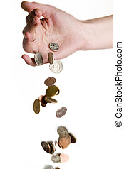 Falling Money - A hand dropping coins